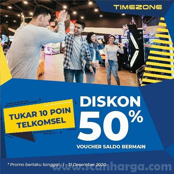 Timezone Diskon 50% Voucher Saldo Bermain dengan Tukar 10 Poin Telkomsel