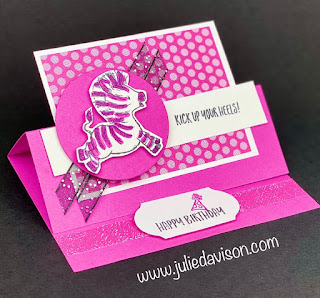 Stampin' Up! Last Chance Zany Zebras Birthday Card + Easel Card Video Tutorial ~ www.juliedavison.com #stampinup