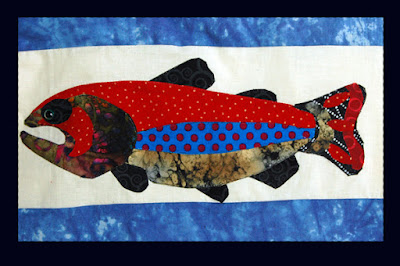 Trout graphic for trout quilt, kenneth lund quilt frames