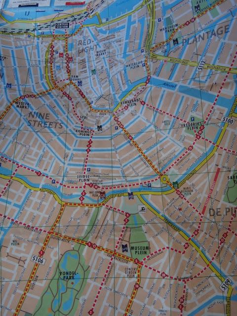 mapa do centro histórico de Amsterdam