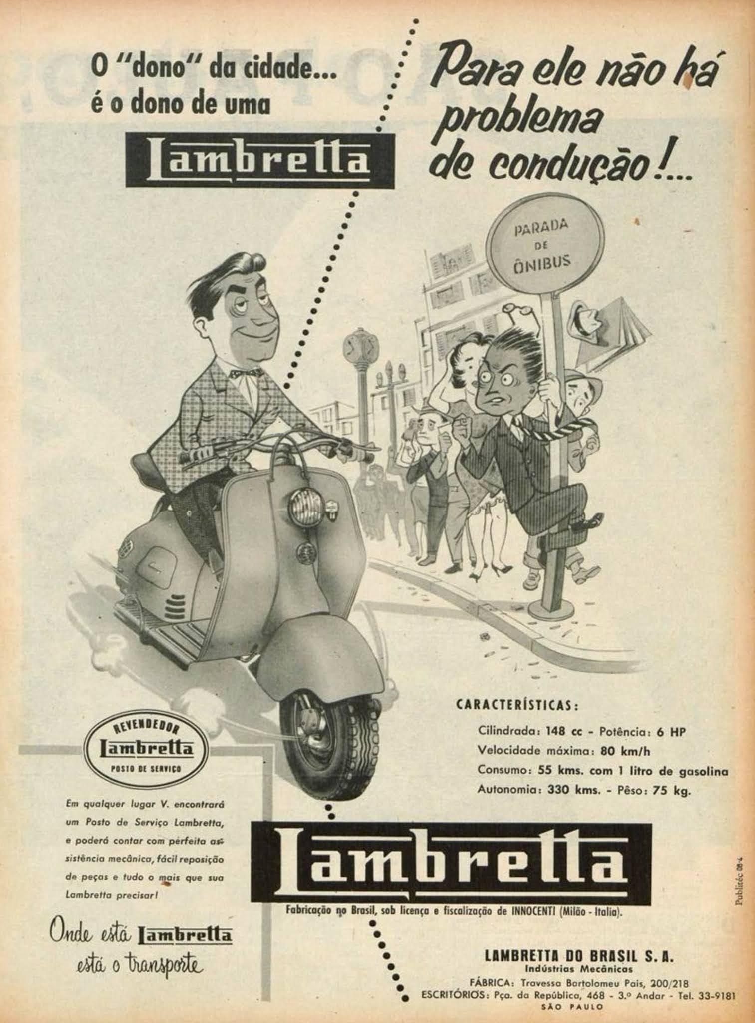 Anúncio promovendo a Lambretta em 1955 nas revistas brasileiras