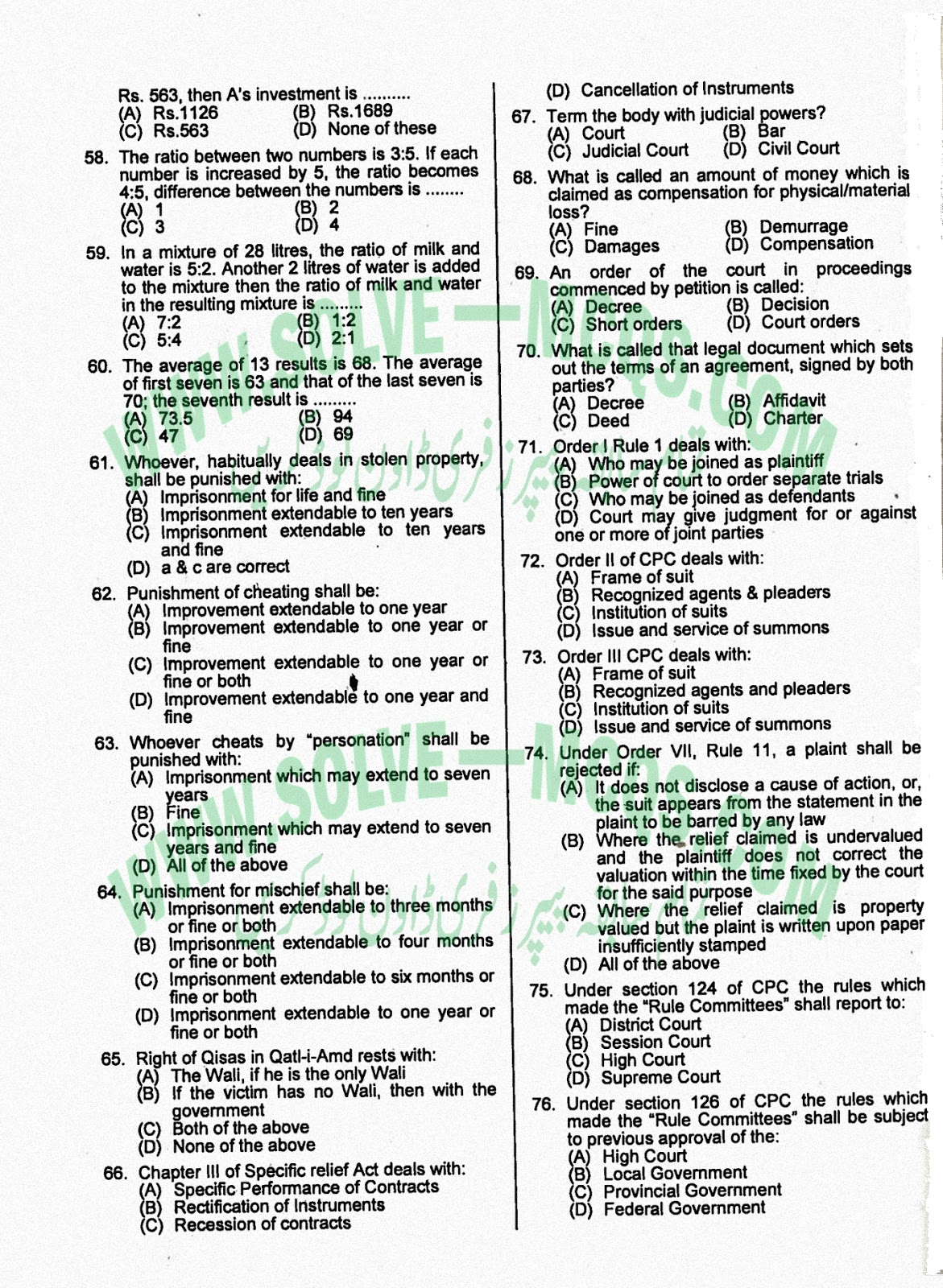 Solved MCQs ASSISTANT DIRECTOR I.T Objective Type Question Answers
