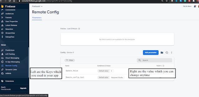 Firebase Remote Config parameter values