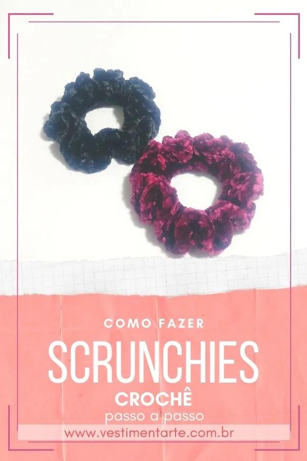 Scrunchies de crochê: como fazer os elásticos de cabelo (xuxinhas) dos anos 90