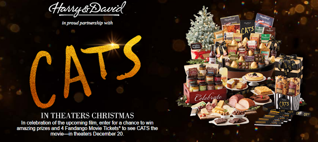 Harry & David are celebrating the release of Cats, coming to theaters for Christmas by giving away tickets to see the movie and other terrific and yummy prizes!