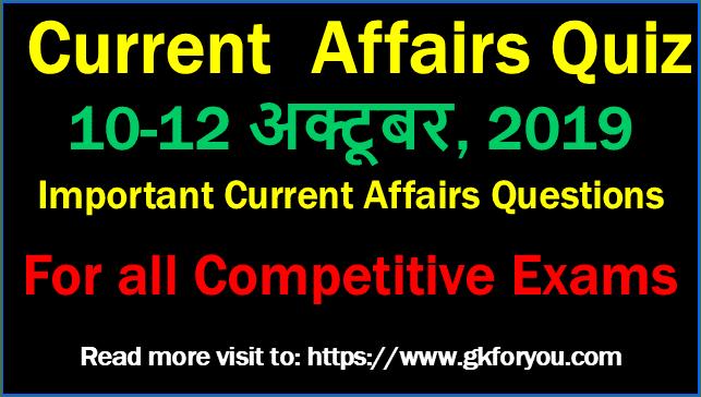 Daily Current Affairs Quiz: 10-12 October, 2019