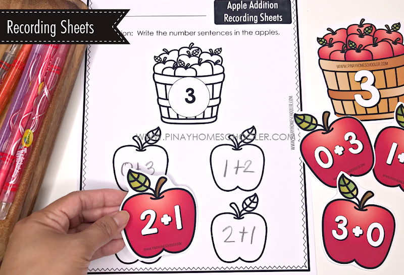 Addition Worksheets - Apple Theme