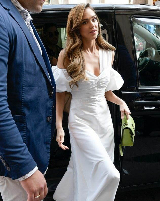 Jessica Alba Looks Stunning in White at Honest Beauty Launch in Rome