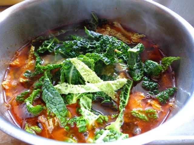 Add Savoy cabbage