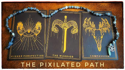 Higher Perspective, The Warrior, & Compassion cards from the Threads of Fate Oracle
