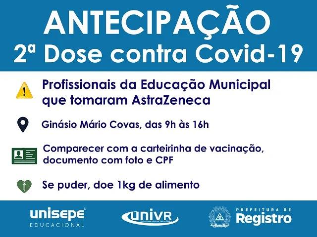 Profissionais da Educação Municipal que receberam AstraZeneca