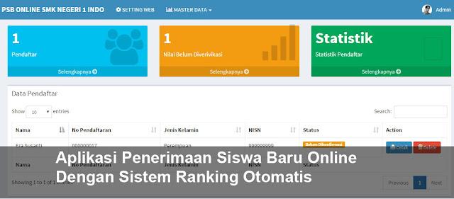 Aplikasi Penerimaan Siswa Baru Online Dengan Sistem Ranking Otomatis