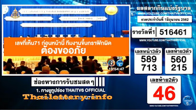 Thailand Lottery Result 01 June 2019 Live Streaming Online