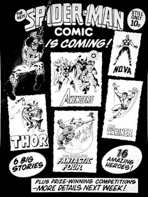 Spider-Man Comics, January 1979 house ad, Marvel UK, Dez Skinn, marvel revolution