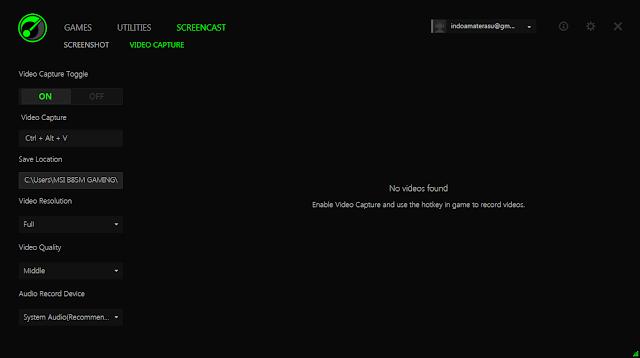 Razer Game Boster juga menyediakan fitur screen game dan video