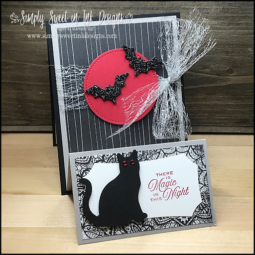Spooky fun Halloween cat easel card with the Stampin' Up! Magic In This Night suite.