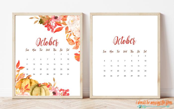 Free October Calendar Printables