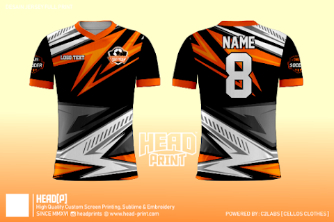 Black Orange Grey Jersey Full Print Custom - Head Print