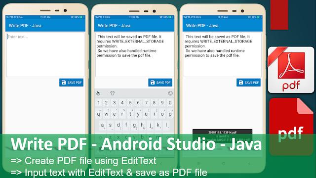 Write PDF - Android Studio - Java