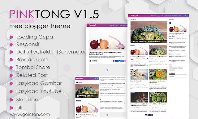 Update template Blogger Gratis Pinktong Versi 1.5