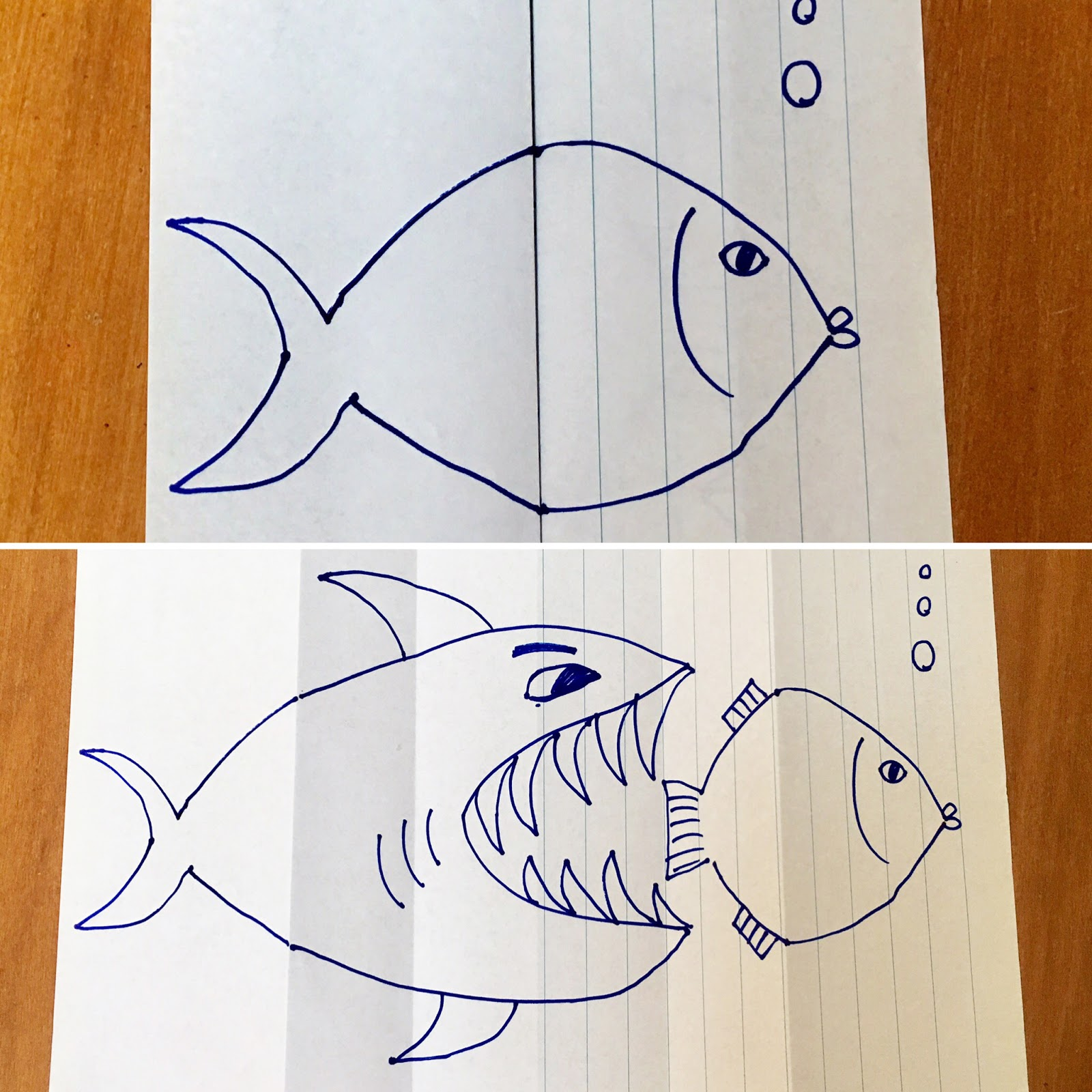 Kids Craft Folded Paper Drawings