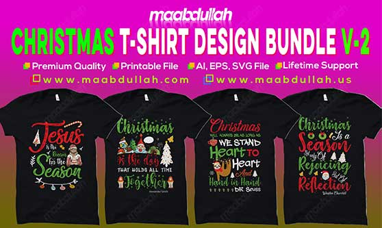 Christmas t shirt design bundle V-2 2021
