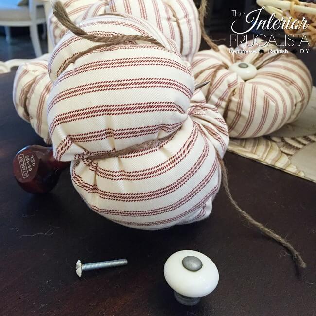 Ticking Fabric Pumpkins Cabinet Knob Stem Assembly