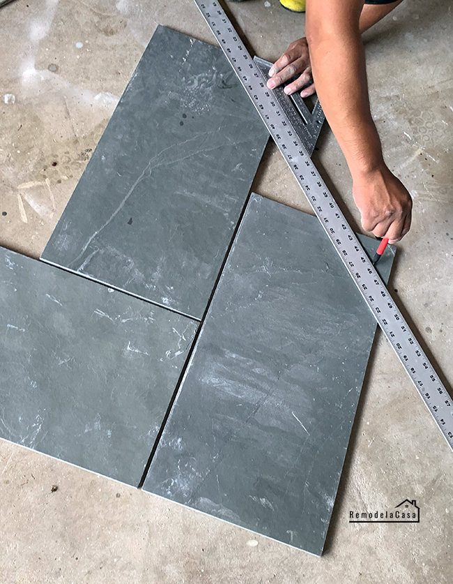 herringbone pattern for slate tile install