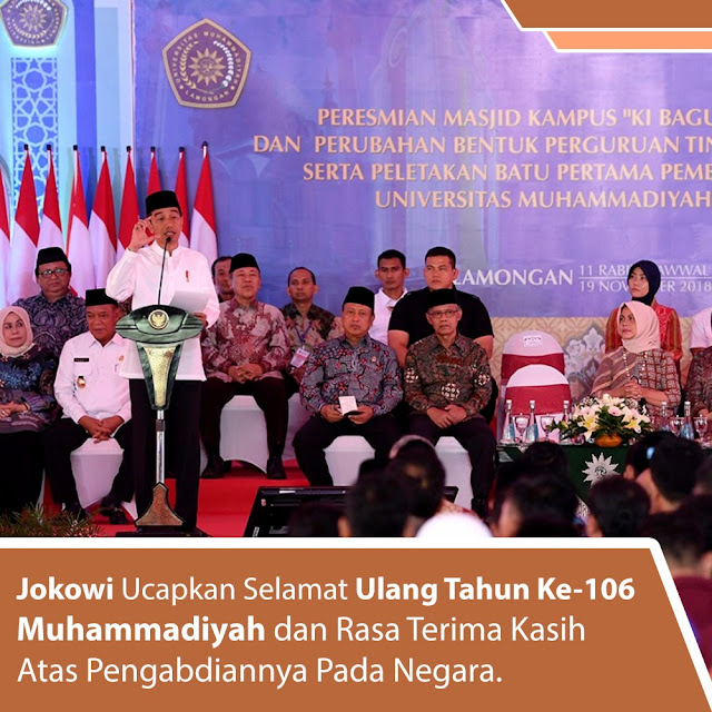 Jokowi Berterima Kasih Atas Pengabdian Muhammadiyah,dan Resmikan Pembangunan Masjid