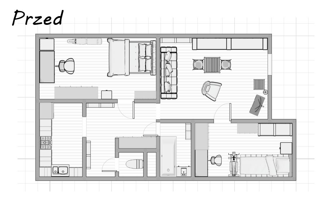 projekt mieszkania przed remontem  jak zaprojektować mieszkanie 3 pokoje łódź rozkład mieszkania salon kuchnia sypialnia przedpokój łazienka wc biuro