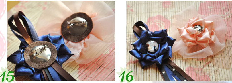 Customized Corsages with Gem and Ribbon for the Newlyweds