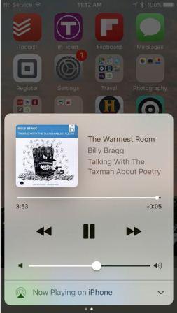 Tampilan Control Center di iOS 10