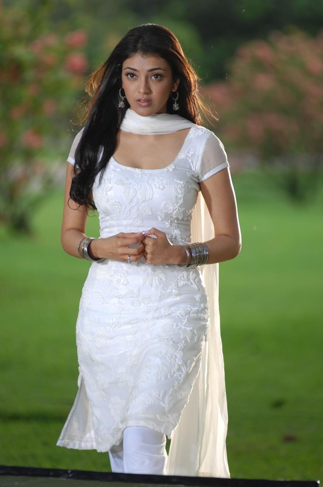Kajal Aggarwal Sad Face Photos In White Dress