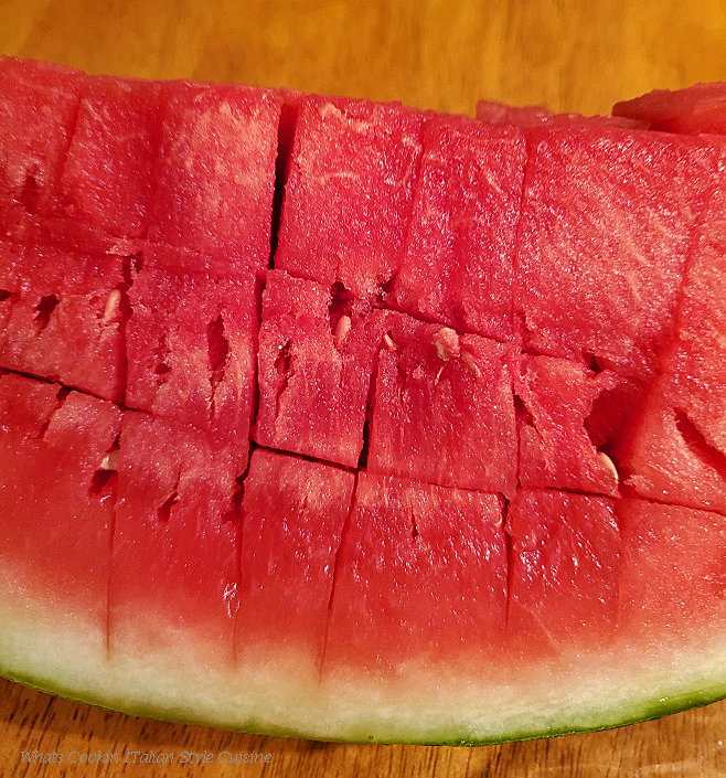 This is fresh watermelon cubed with a sharp knife to make sorbet