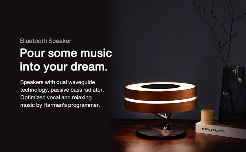 AMPULLA HORIZON BEDSIDE LAMP WITH TWS BLUETOOTH SPEAKER & WIRELESS CHARGER