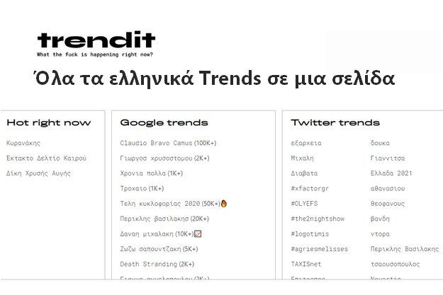 Trendit - Όλα τα trends της Ελληνικού ίντερνετ σε μια σελίδα