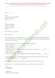 request letter to bank for wrong transfer of funds