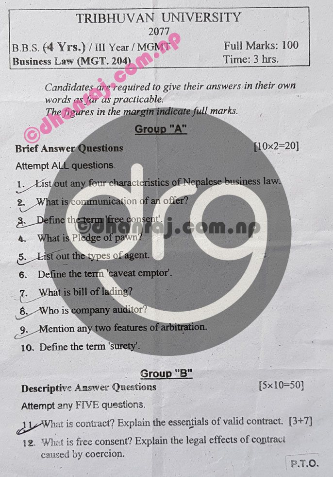 Business-Law-Question-Paper-2077-2021-BBS-Third-Year