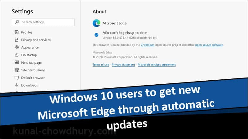 Windows 10 users to receive new Microsoft Edge (Chromium)  through automatic updates
