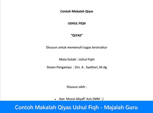 Contoh Makalah Qiyas Ushul Fiqh - Majalah Guru