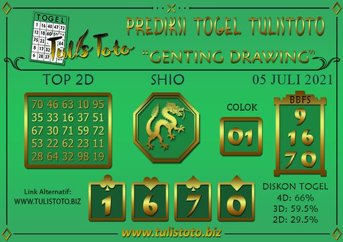 Prediksi Togel GENTING DRAWING TULISTOTO 05 JULI 2021