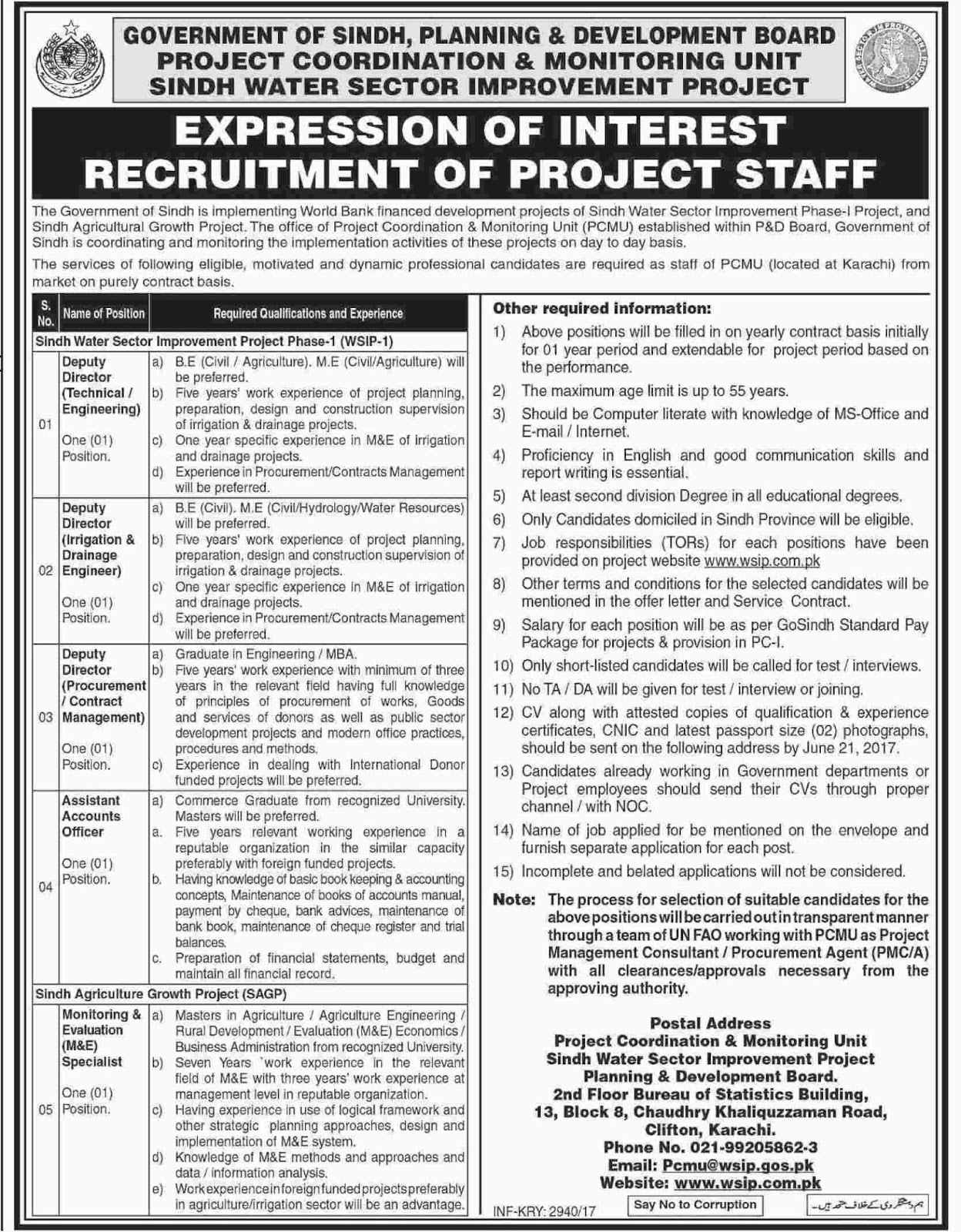 P&D Jobs In  Planning And Development Department Sindh 3 June 2017