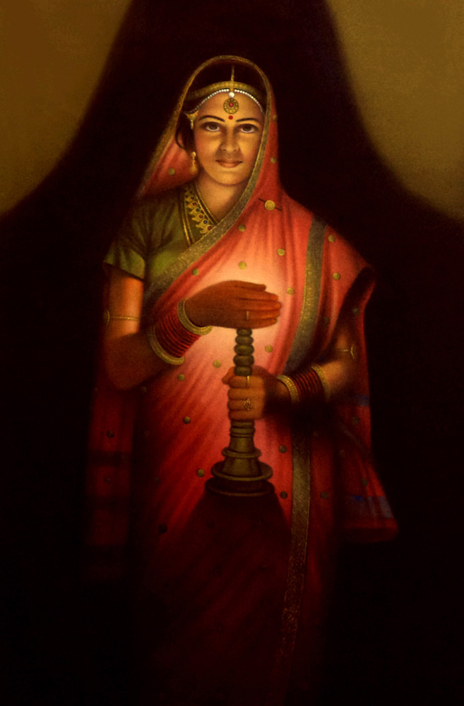 Good Lady With The Lamp Painting Poster