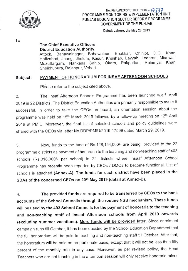 PAYMENT OF HONORARIUM FOR INSAF AFTERNOON SCHOOLS