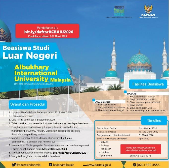 BEASISWA CENDEKIA BAZNAS – ALBUKHARY INTERNATIONAL UNIVERSITY, MALAYSIA 2020