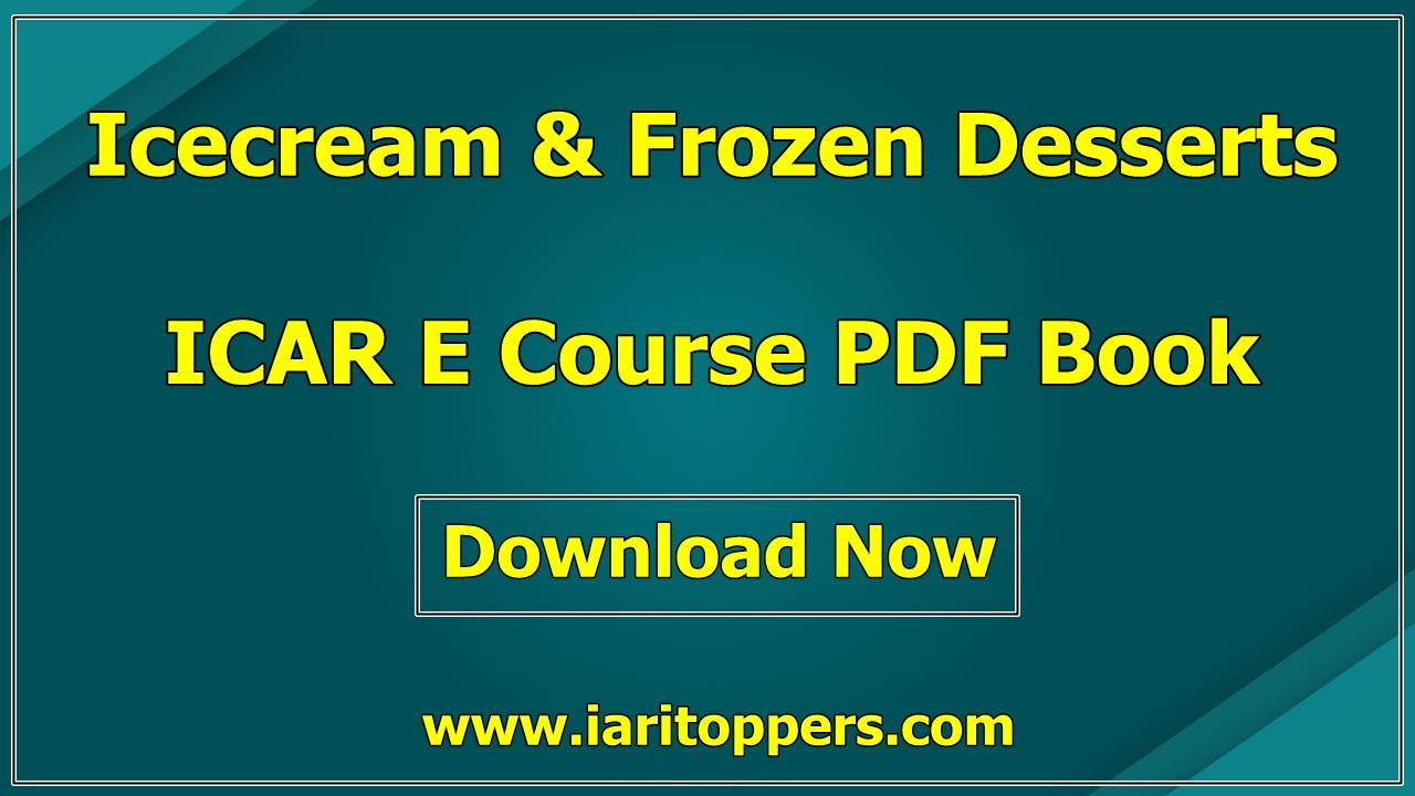 Ice Cream And Frozen Dessert ICAR e course PDF Download E Krishi Shiksha