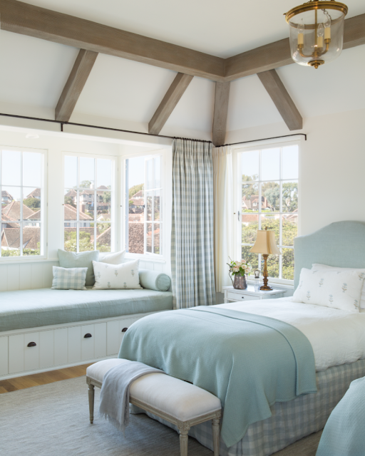 Breathtaking French Country modern farmhouse bedroom with window seat by Giannetti Home - found on Hello Lovely Studio