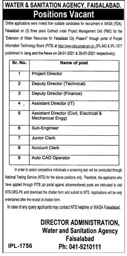 Latest Jobs in Pakistan Water and Sanitation Agency Jobs 2021 | Apply Online