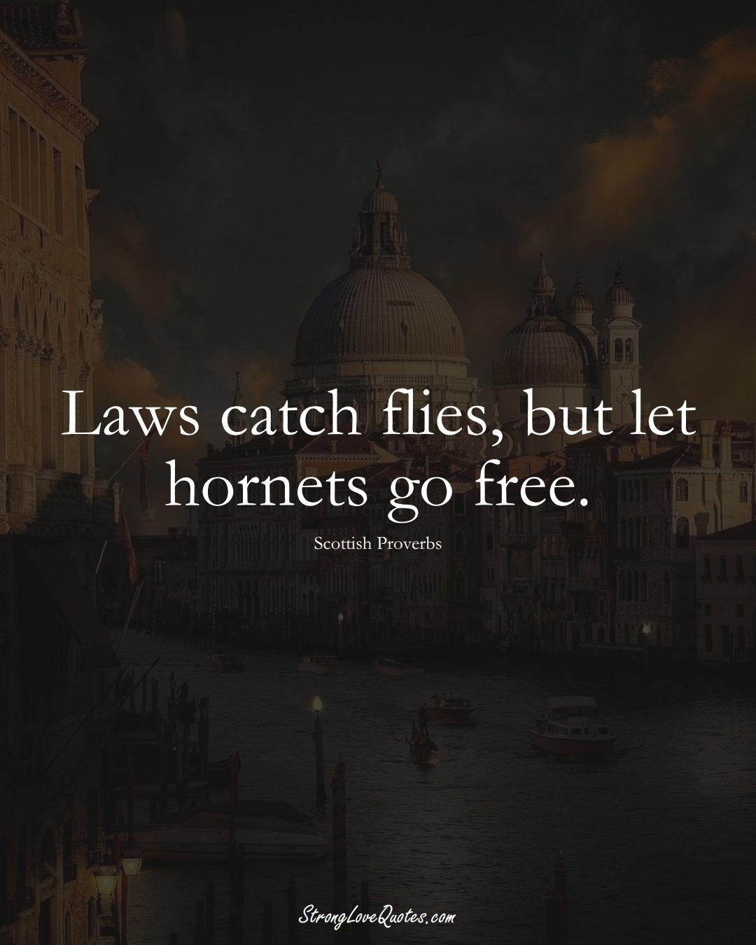 Laws catch flies, but let hornets go free. (Scottish Sayings);  #EuropeanSayings