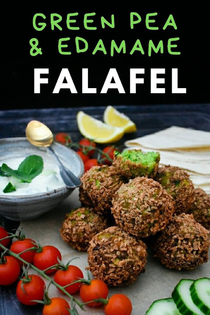Green Edamame & Pea Falafel are perfect for lunchboxes or for a light dinner served with salad. They are also great on wraps and pitta bread with hummus and salad. #homemadefalafel #falafel #edamamefalafel #peafalafel #greenfalafel #easyfalafelrecipe  #falafelrecipe